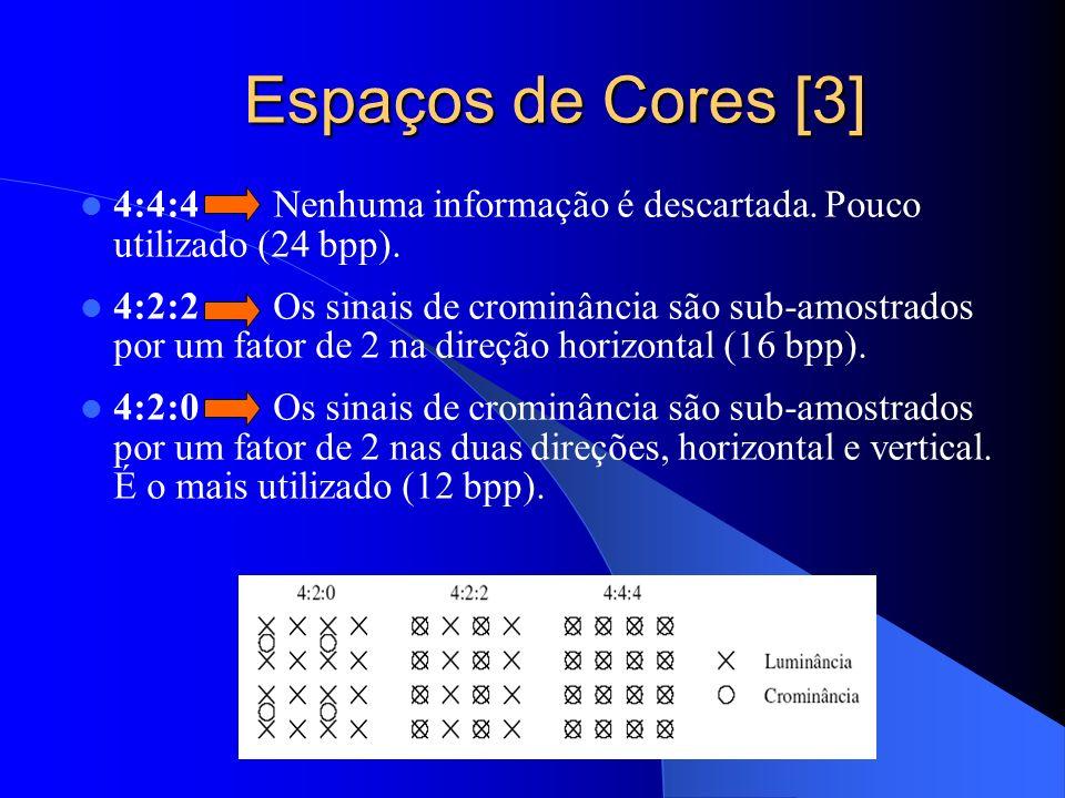 Espaços de Cores [3] 4:4:4 Nenhuma informação é descartada. Pouco utilizado (24 bpp).